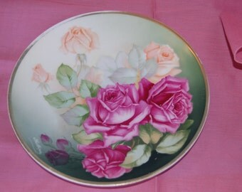 Vintage Rose Plate, Collectible Rose Plate, Hand Painted, Bavarian Plate, Home Decor, Wall Decor,  Red and Pink Rose plate.