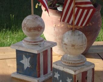 Rustic American Flag Holder