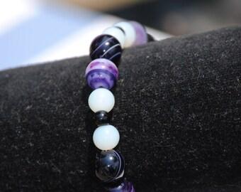 Purple Striped Agate, Black and White Beaded Bracelet