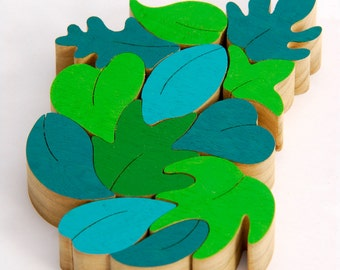 Wood Puzzle, Wood Toy Puzzle, Eco-friendly toy for kids, Kids educational toy, Green leaves, Cristmas Gift for kids