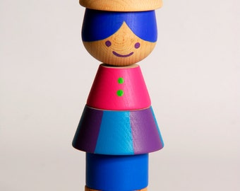 Large Stacking Doll (PITANGO), Stacking toy, Wooden Toy, Colorful Wooden Beads