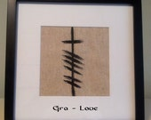 """Ancient Irish Ogham Writing for the word """"Love"""""""