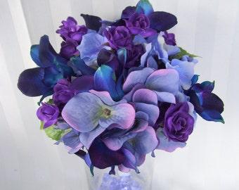 Paige's Bridesmaids Bouquets with Purple Hydrangeas, Blue Violet Dendrobuim Orchids, Purple Spray Roses