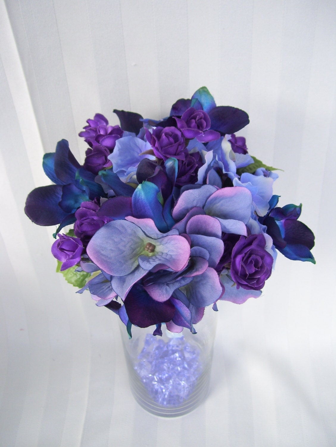 Paige's Bridesmaids Bouquets with Purple Hydrangeas Blue