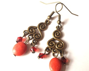 Sydney - coral red earrings