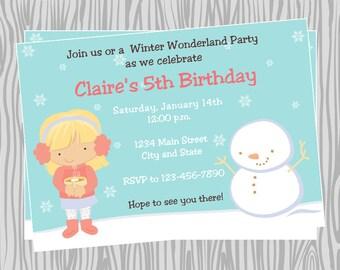 DIY - Girl Winter Wonderland Birthday Party Invitation - Coordinating Items Available