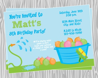 DIY - Boy Water Games Pool Party Invitation  Birthday Invitation - Coordinating Items Available
