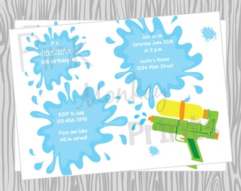 DIY - Boy Watergun Pool Party Invitation  Birthday Invitation - Coordinating Items Available
