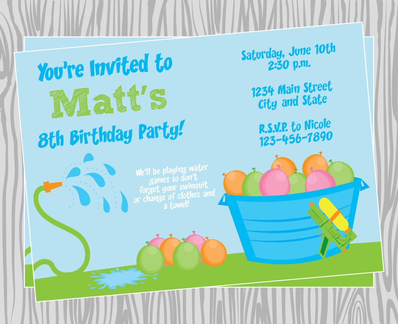 diy boy water games pool party invitation birthday