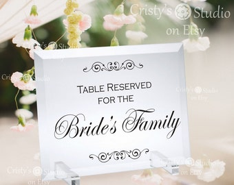 Wedding Table Reservation Sign