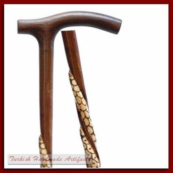 Handmade SNAKE Wooden Walking Stick Cane Canes Cy24