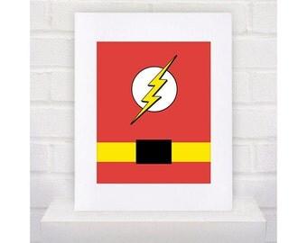 Digital Download Flash Superhero with belt Typography Poster Print - Boys Room - 8x10 - Flash Superhero Typography Print -  Flash Superhero