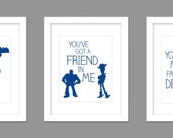 Set of 3 Digital Download Toy Story Woody Buzz Lightyear Nursery Art Print, Woody Toy Story Nursery Art Boys Room - 8x10 or 11x14