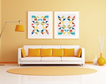 Digital Download Geometric Abstract Modern Shapes Art Poster,  8x10 or 11x14 or 12x18 - 16x20