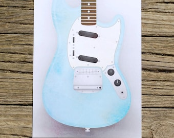 SALE!!! - Fender Mustang Guitar Limited Run Print - Hand Numbered