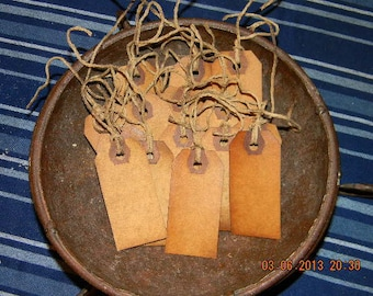 100 Small blank coffee stained primitive hang tags lot with string