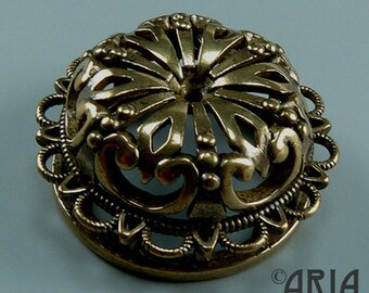 DAMASK SLIDER: Damask Antique Silicon Bronze Medium Medallion Connector Slider Pendant, 11.2x24.50mm (DMSL02)