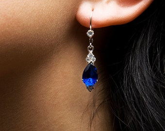 Athena. Royal Dark Blue Handmade Silver or 14K Gold Sapphire and Zircon Earrings. Perfect jewelry for your gala evening. FREE shipping