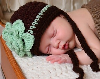 Brown and Mint Green Rose Beanie hat with  ties Girl Beanie Hat  Many Sizes preemie newborn, 0-3 month,3-6 month , 6-12 month, 1-3yr,  #29