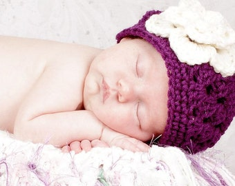 Purple Plum hat with White Irish Rose Girls Beanie  hat  Sizes Preemie Newborn 0-3 month, 3-6 month, 6-12 month, 1-3 yr other colors avail