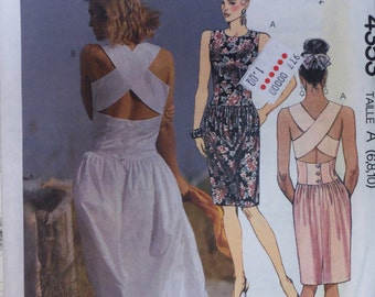Vintage 1980s McCall's 4353 Cross-Back Dress Pattern sz  6-8-10 UNCUT