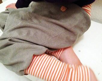 Corduroy Baggy Trousers- Pant- grey- ORANGE-striped cuffs -