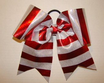 Silver and Red Striped Cheer Bow