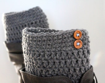Grey boot cuffs, Grey boot liners, Gray leg warmers, Wood button legwarmers, Grey boot socks, Grey boot toppers, Women's Knit boot socks