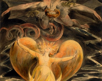 """William Blake : """"Great Red Dragon & Woman Clothed with the Sun"""" - Giclee Fine Art Print"""