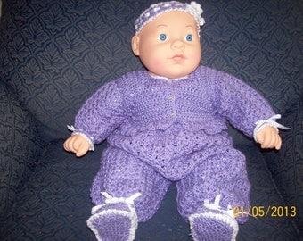 3-6 month romper set in purple with white trim