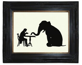 Silhouette Gentleman plays Chess with Elephant Victorian Steampunk Art Print Paper Cut