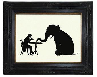 Elephant Art Print Silhouette Gentleman plays Chess with Elephant Victorian Steampunk Art Print Paper Cut