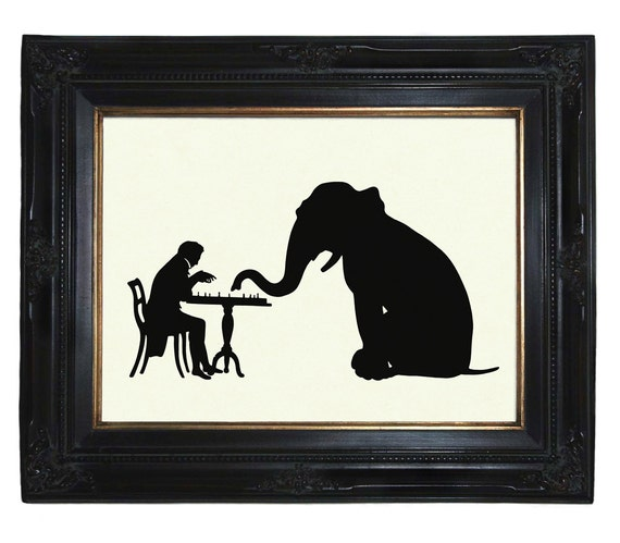 Silhouette Gentleman plays chess with Elephant Victorian Steampunk art print