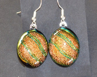 Amber with Green Stripe Dichroic Fused Glass Drop Earrings