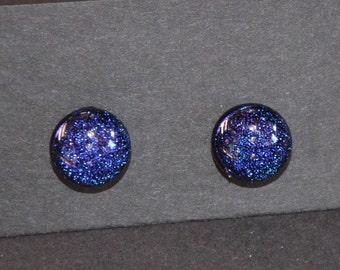 Blue Purple Dichroic Fused Glass Post Earrings