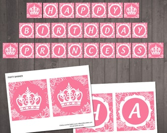 PRINTABLE 'Happy Birthday Princess' Banner - Pink Floral Princess Party Decroations