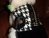 wool coat with black fur embellished with Swarovski crystals, gold chain, black lace