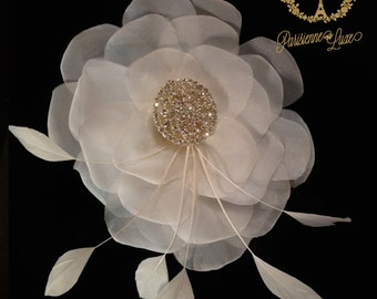 """Bridal Flower Hair clip, Fascinator, Bridal Hair Accessory, Flower Bridal Hair Accessory, Rhinestone and Feather Accents """"PAULETTE"""""""
