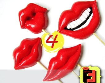 Set from - 4 one colour plastic lips on a stick for - wedding, engagement, party, birthdays Photo booth Props