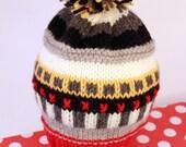 PATRICK: Handknit baby hat, 6 month size, stripes, embroidery, pom-pom