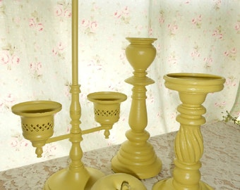 Upcycled, Vintage,  Distressed, Shabby Chic, Yellow, Hand Painted, Candle Holders