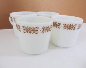 Vintage Pyrex Filigree Coffee Cups, Coffee Mugs, Coffee Cups, VIntage Pyrex, Vintage Coffee Cups, Pyrex, Dinnerware, Restaurantware