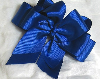 Rich Solid Royal Blue 5 inch Double Hair Bow