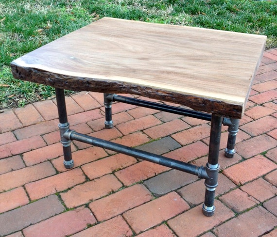 Vintage Industrial Live Edge Walnut Slab Coffee Table: Items Similar To Black Walnut Live Edge & Pipe End Table