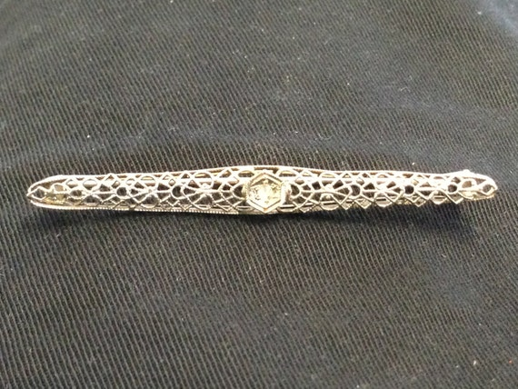 Antique 14K White Gold Filigree Diamond Brooch, Art Deco Bar Pin