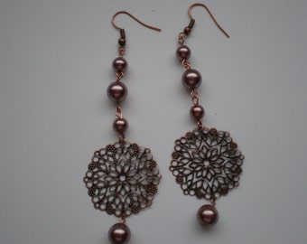 Copper and Mauve Pearl Earrings