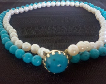 Faux Turquoise and Pearl Choker - Vintage Necklace - 1940 Aqua Choker - Vintage Jewelry - 1940 Jewelry - Vintage Necklace - Turquois Choker