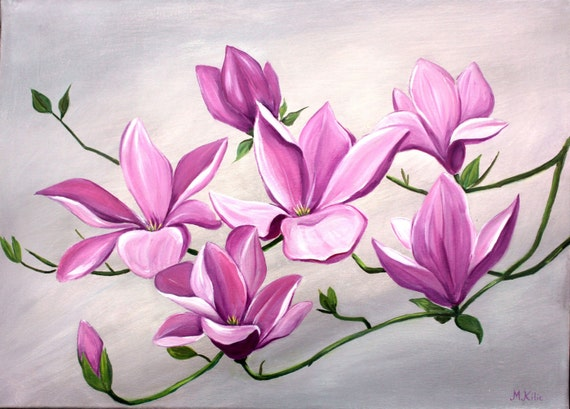 Items similar to Large Flower Painting Acrylic Silver Grey ...