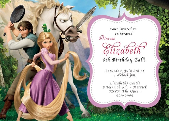 CUSTOM PHOTO Invitations Rapunzel Tangled Birthday Invitation