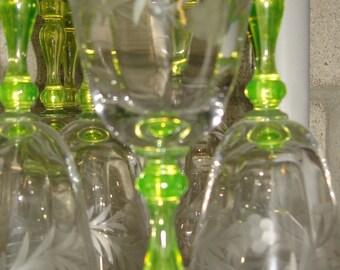 URANIUM 'Vaseline glass' Stem Ware - set of 7